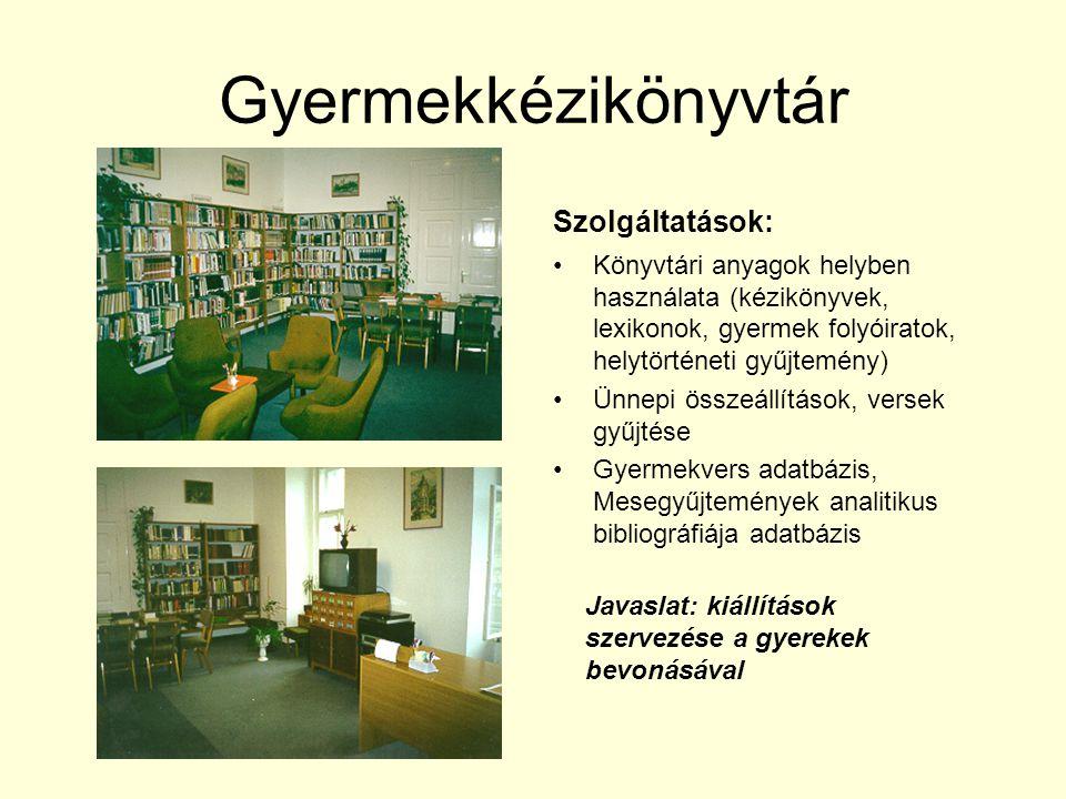 Gyermekkézikönyvtár Szolgáltatások: Könyvtári anyagok helyben használata (kézikönyvek, lexikonok, gyermek folyóiratok, helytörténeti gyűjtemény) Ünnepi összeállítások, versek gyűjtése Gyermekvers adatbázis, Mesegyűjtemények analitikus bibliográfiája adatbázis Javaslat: kiállítások szervezése a gyerekek bevonásával