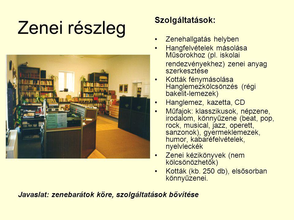 Zenei részleg Szolgáltatások: Zenehallgatás helyben Hangfelvételek másolása Műsorokhoz (pl. iskolai rendezvényekhez) zenei anyag szerkesztése Kották f