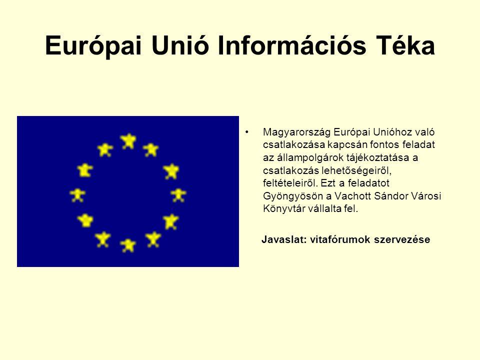 Európai Unió Információs Téka Magyarország Európai Unióhoz való csatlakozása kapcsán fontos feladat az állampolgárok tájékoztatása a csatlakozás lehet