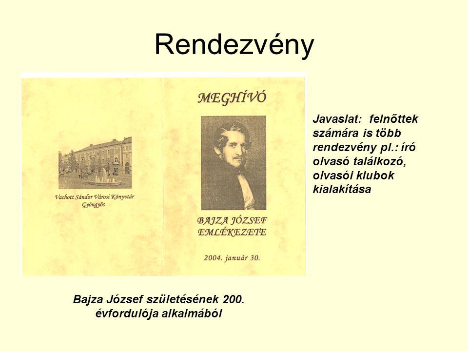 Rendezvény Bajza József születésének 200. évfordulója alkalmából Javaslat: felnőttek számára is több rendezvény pl.: író olvasó találkozó, olvasói klu
