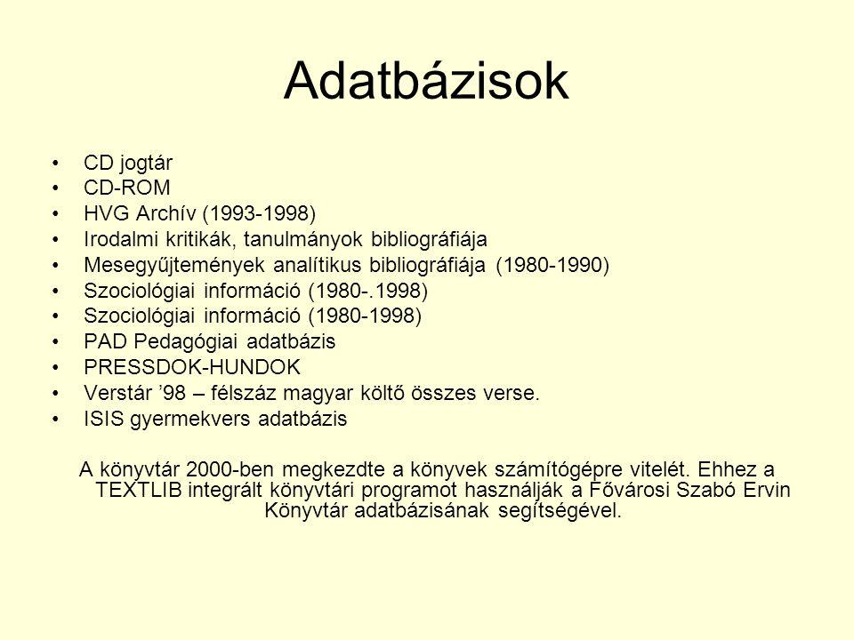 Adatbázisok CD jogtár CD-ROM HVG Archív (1993-1998) Irodalmi kritikák, tanulmányok bibliográfiája Mesegyűjtemények analítikus bibliográfiája (1980-199