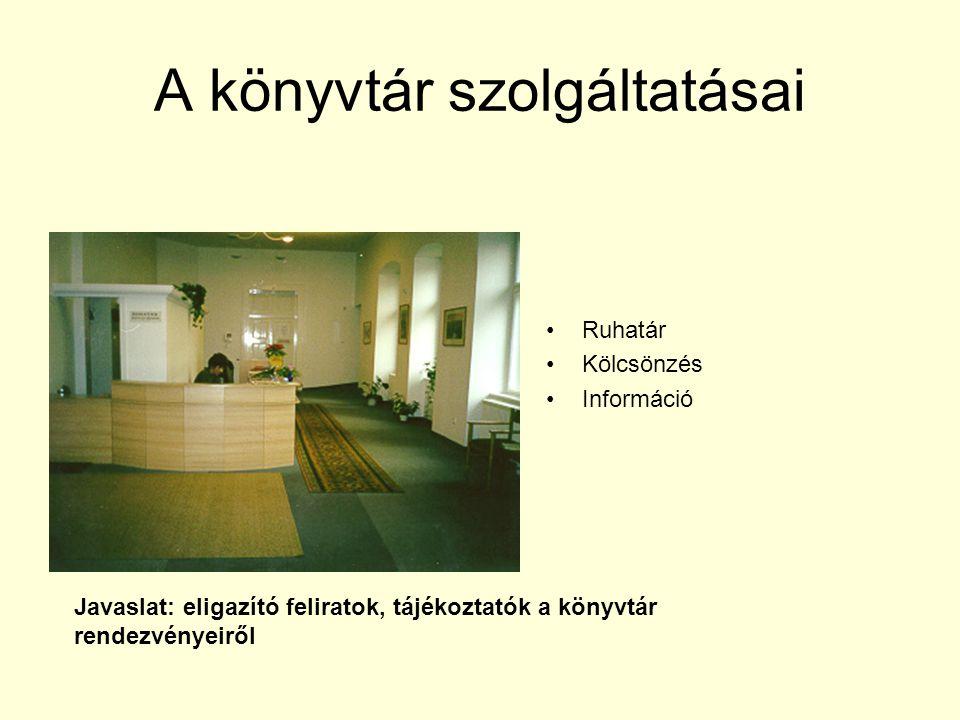 A könyvtár szolgáltatásai Ruhatár Kölcsönzés Információ Javaslat: eligazító feliratok, tájékoztatók a könyvtár rendezvényeiről