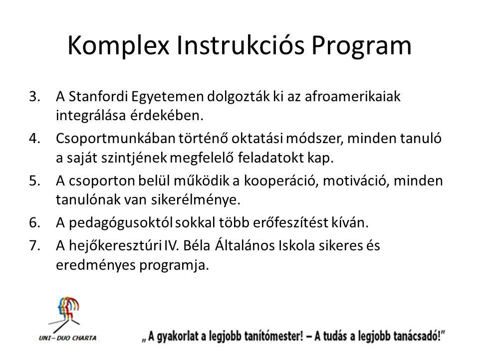 Komplex Instrukciós Program 3.A Stanfordi Egyetemen dolgozták ki az afroamerikaiak integrálása érdekében. 4.Csoportmunkában történő oktatási módszer,