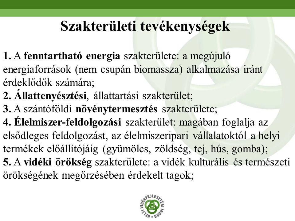 Szakterületi tevékenységek 1. A fenntartható energia szakterülete: a megújuló energiaforrások (nem csupán biomassza) alkalmazása iránt érdeklődők szám