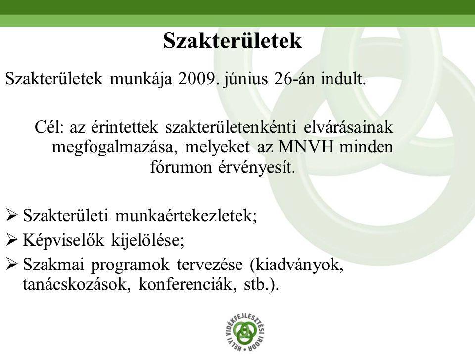 Szakterületek munkája 2009. június 26-án indult. Cél: az érintettek szakterületenkénti elvárásainak megfogalmazása, melyeket az MNVH minden fórumon ér