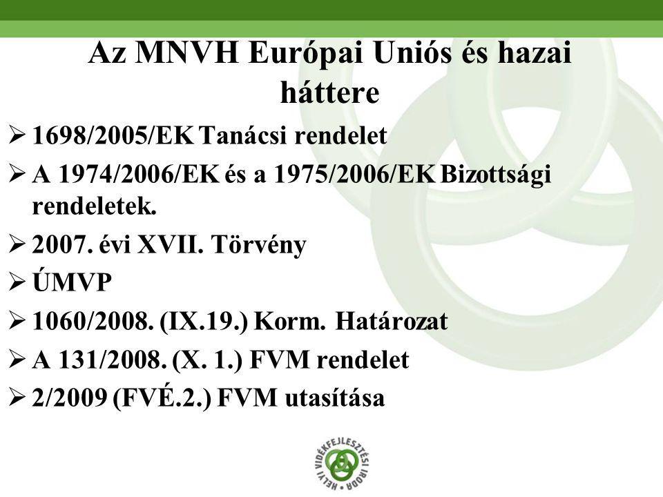  1698/2005/EK Tanácsi rendelet  A 1974/2006/EK és a 1975/2006/EK Bizottsági rendeletek.  2007. évi XVII. Törvény  ÚMVP  1060/2008. (IX.19.) Korm.