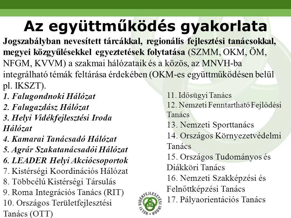 Jogszabályban nevesített tárcákkal, regionális fejlesztési tanácsokkal, megyei közgyűlésekkel egyeztetések folytatása (SZMM, OKM, ÖM, NFGM, KVVM) a sz