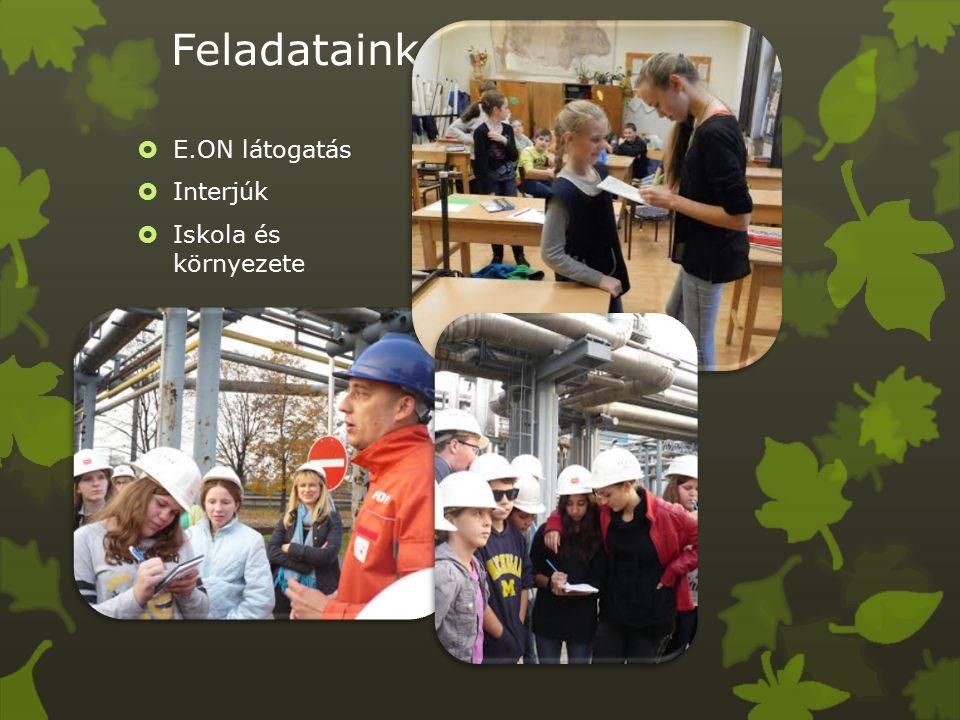 Feladataink  E.ON látogatás  Interjúk  Iskola és környezete