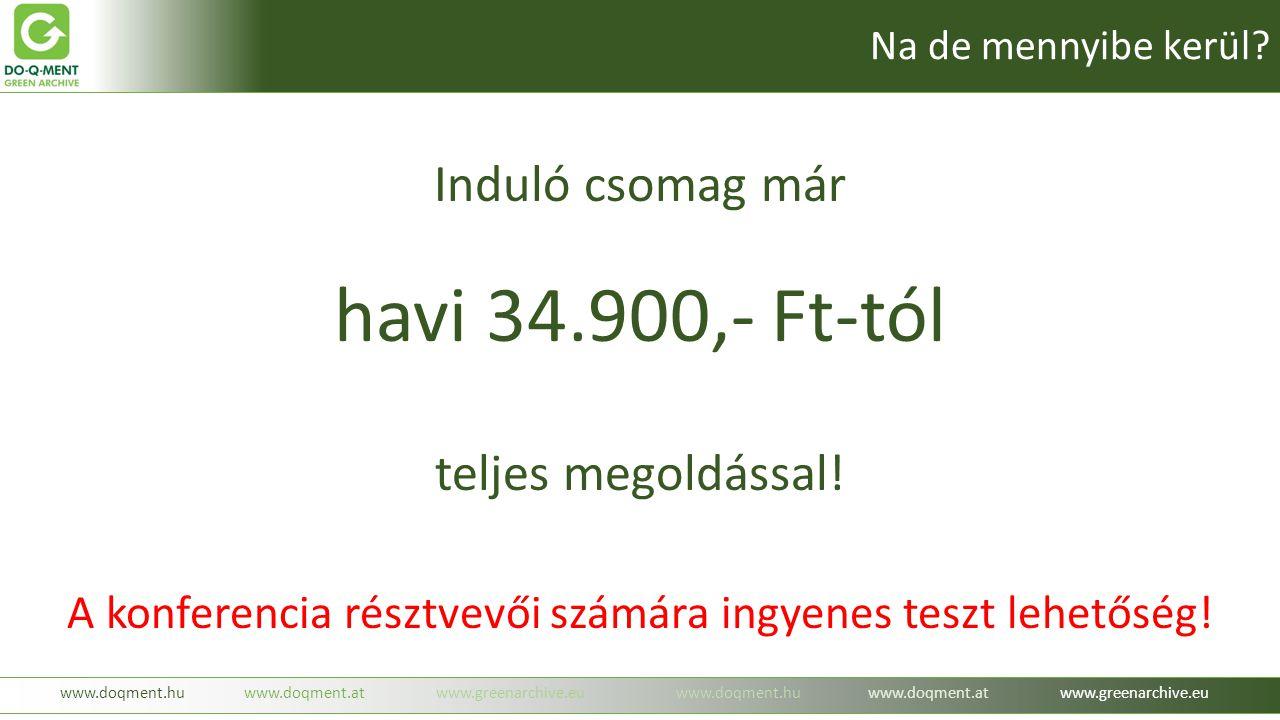 Induló csomag már havi 34.900,- Ft-tól teljes megoldással! A konferencia résztvevői számára ingyenes teszt lehetőség! www.doqment.huwww.doqment.atwww.