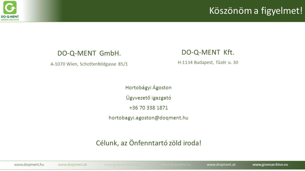 DO-Q-MENT Kft. H-1134 Budapest, Tüzér u. 30 Célunk, az Önfenntartó zöld iroda! Hortobágyi Ágoston Ügyvezető igazgató +36 70 338 1871 hortobagyi.agosto