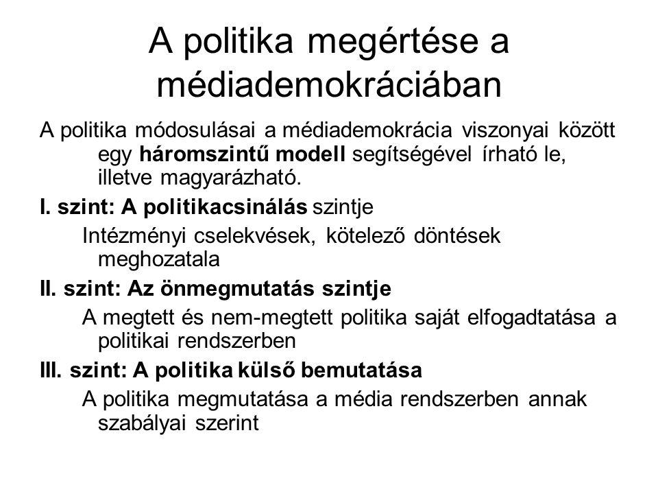 A politika megértése a médiademokráciában A politika módosulásai a médiademokrácia viszonyai között egy háromszintű modell segítségével írható le, ill