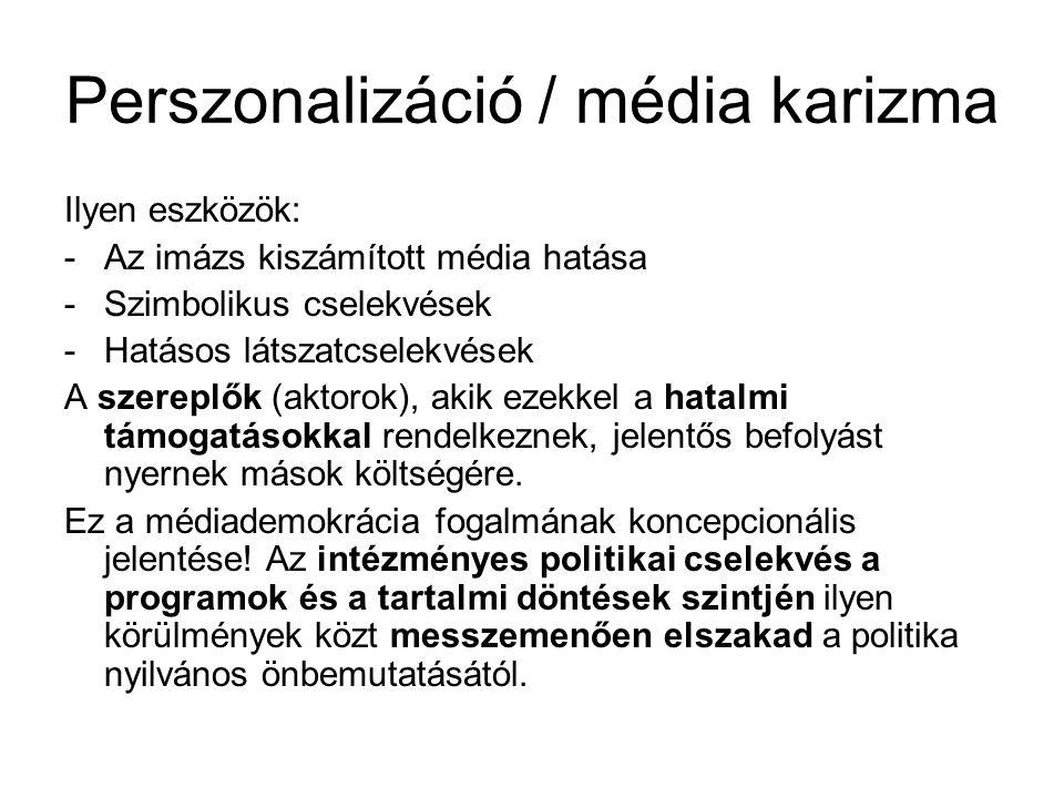 Perszonalizáció / média karizma Ilyen eszközök: -Az imázs kiszámított média hatása -Szimbolikus cselekvések -Hatásos látszatcselekvések A szereplők (a