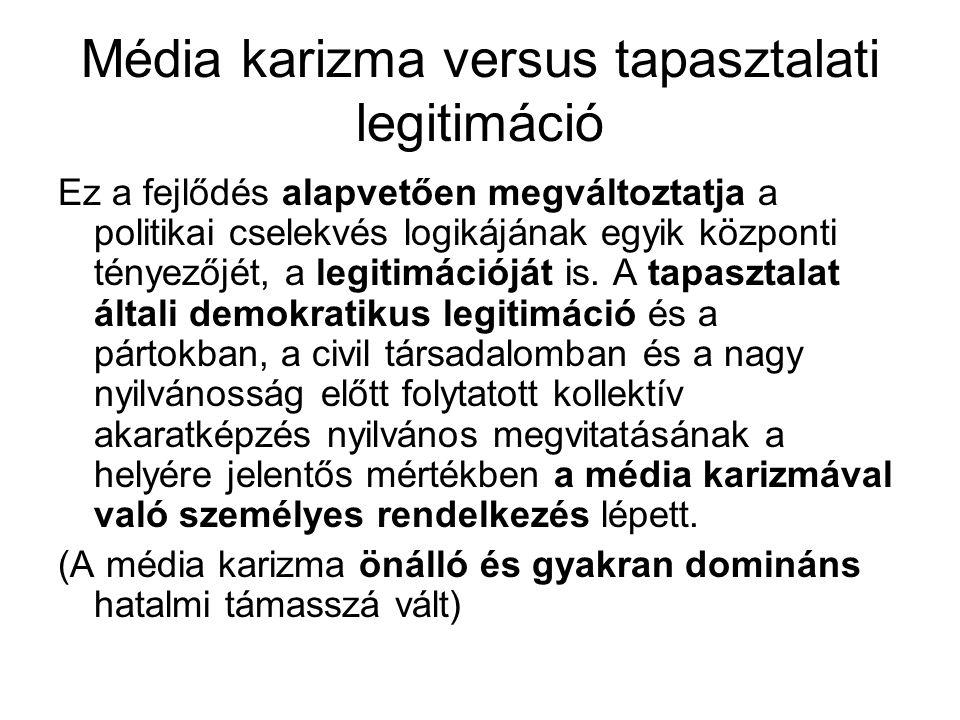 Média karizma versus tapasztalati legitimáció Ez a fejlődés alapvetően megváltoztatja a politikai cselekvés logikájának egyik központi tényezőjét, a legitimációját is.