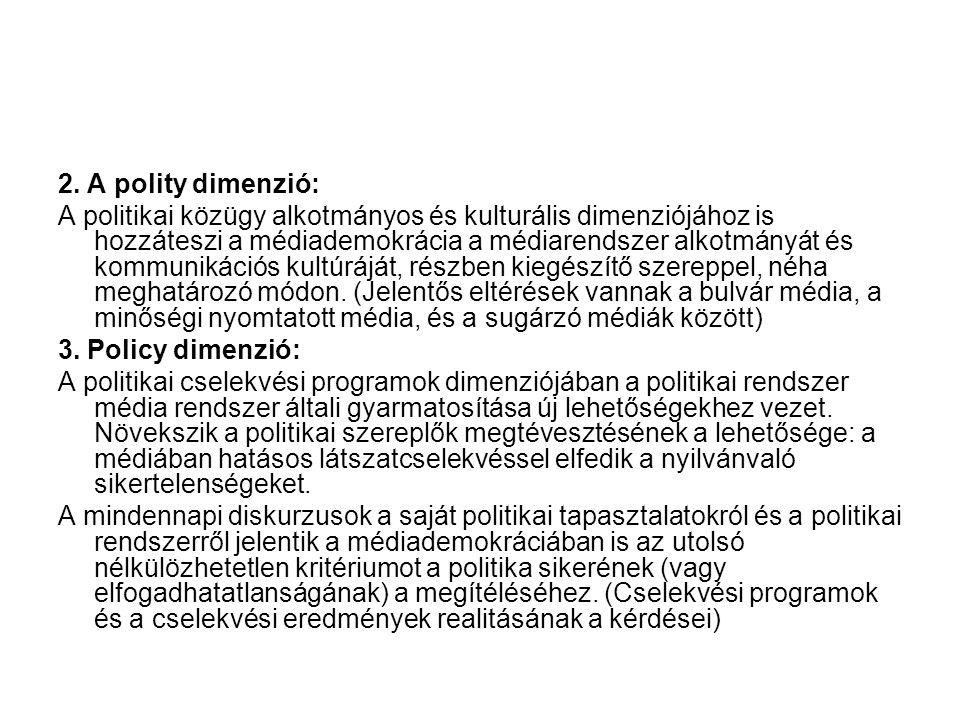 2. A polity dimenzió: A politikai közügy alkotmányos és kulturális dimenziójához is hozzáteszi a médiademokrácia a médiarendszer alkotmányát és kommun