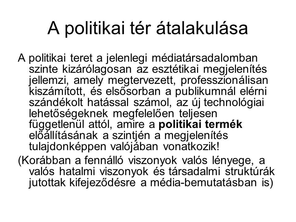 A politikai tér átalakulása A politikai teret a jelenlegi médiatársadalomban szinte kizárólagosan az esztétikai megjelenítés jellemzi, amely megtervez