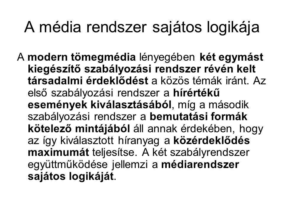 A média rendszer sajátos logikája A modern tömegmédia lényegében két egymást kiegészítő szabályozási rendszer révén kelt társadalmi érdeklődést a közös témák iránt.