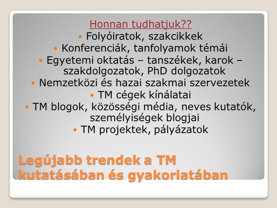 Legújabb trendek a TM kutatásában és gyakorlatában Honnan tudhatjuk .