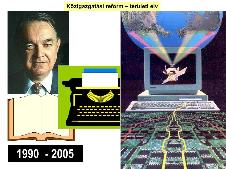 1990 - 2005 Közigazgatási reform – területi elv