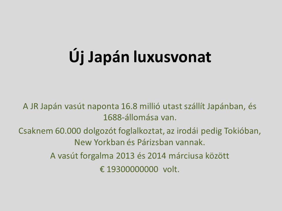 Új Japán luxusvonat A JR Japán vasút naponta 16.8 millió utast szállít Japánban, és 1688-állomása van.