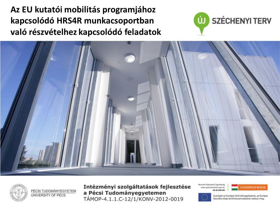 Az EU kutatói mobilitás programjához kapcsolódó HRS4R munkacsoportban való részvételhez kapcsolódó feladatok