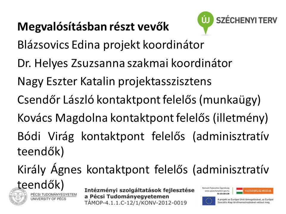 Megvalósításban részt vevők Blázsovics Edina projekt koordinátor Dr.