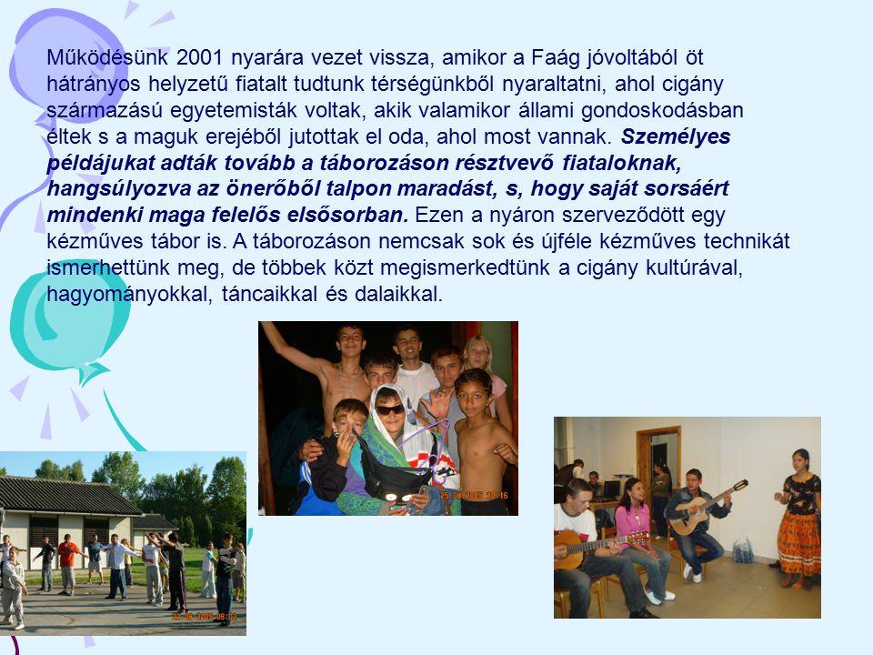 Működésünk 2001 nyarára vezet vissza, amikor a Faág jóvoltából öt hátrányos helyzetű fiatalt tudtunk térségünkből nyaraltatni, ahol cigány származású
