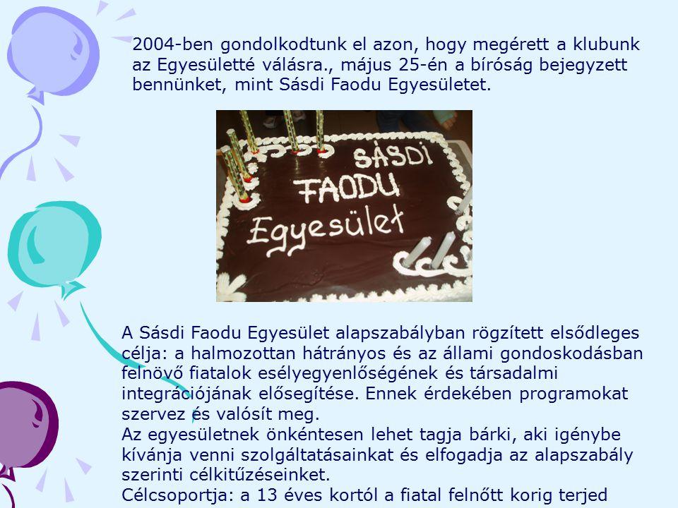 2004-ben gondolkodtunk el azon, hogy megérett a klubunk az Egyesületté válásra., május 25-én a bíróság bejegyzett bennünket, mint Sásdi Faodu Egyesüle