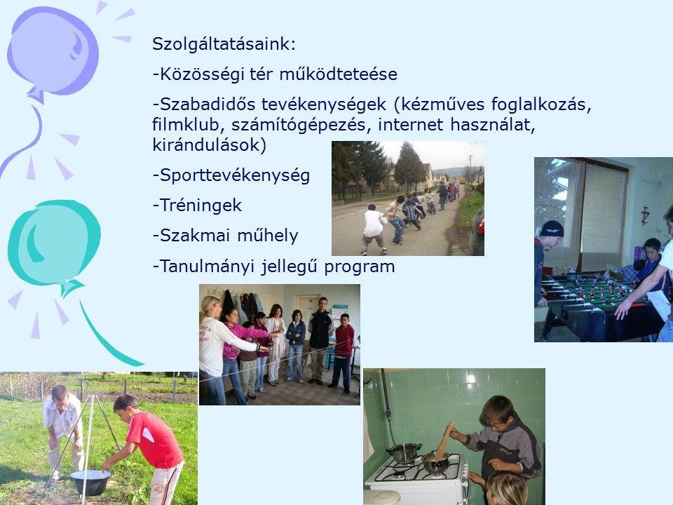 Szolgáltatásaink: -Közösségi tér működteteése -Szabadidős tevékenységek (kézműves foglalkozás, filmklub, számítógépezés, internet használat, kirándulá