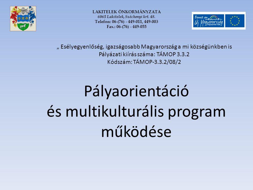 Pályaorientáció és multikulturális program működése LAKITELEK ÖNKORMÁNYZATA 6065 Lakitelek, Széchenyi krt. 48. Telefon: 06-(76) - 449-011, 449-003 Fax