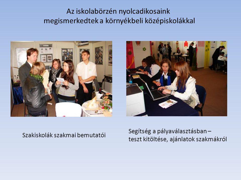 Az iskolabörzén nyolcadikosaink megismerkedtek a környékbeli középiskolákkal Szakiskolák szakmai bemutatói Segítség a pályaválasztásban – teszt kitölt