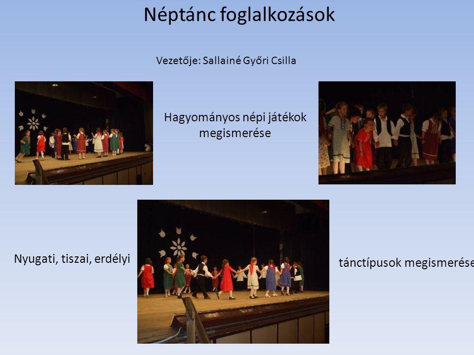Néptánc foglalkozások Vezetője: Sallainé Győri Csilla Hagyományos népi játékok megismerése Nyugati, tiszai, erdélyi tánctípusok megismerése