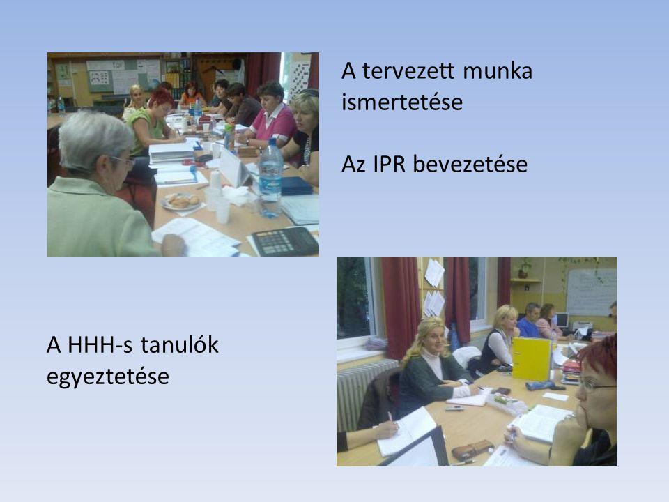 A tervezett munka ismertetése Az IPR bevezetése A HHH-s tanulók egyeztetése