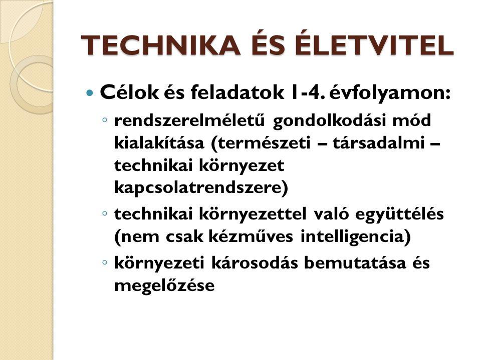 TECHNIKA ÉS ÉLETVITEL Célok és feladatok 1-4.