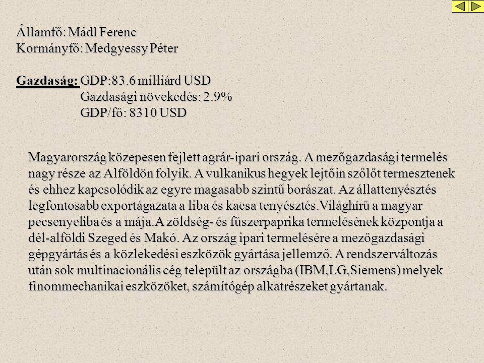 Államfő: Mádl Ferenc Kormányfő: Medgyessy Péter Gazdaság: GDP:83.6 milliárd USD Gazdasági növekedés: 2.9% Gazdasági növekedés: 2.9% GDP/fő: 8310 USD GDP/fő: 8310 USD Magyarország közepesen fejlett agrár-ipari ország.