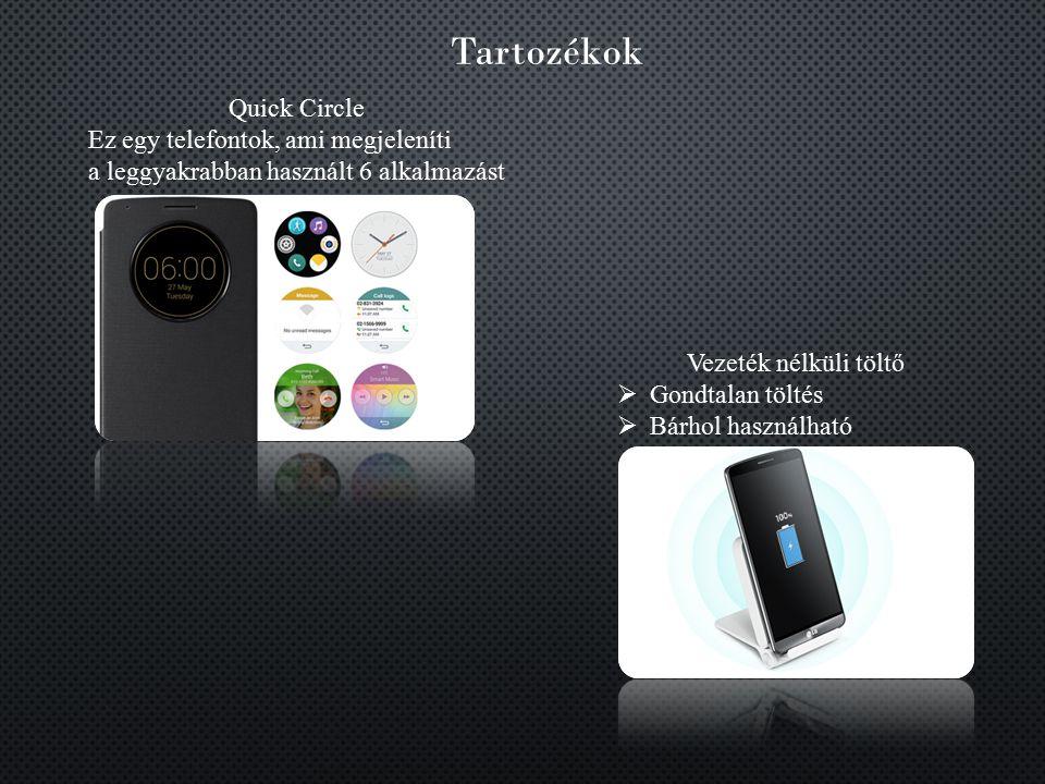 Tartozékok Quick Circle Ez egy telefontok, ami megjeleníti a leggyakrabban használt 6 alkalmazást Vezeték nélküli töltő  Gondtalan töltés  Bárhol ha