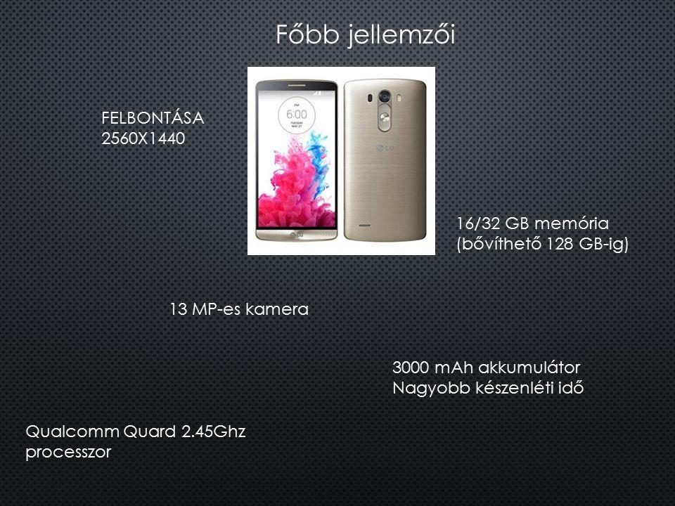 Főbb jellemzői FELBONTÁSA 2560X1440 13 MP-es kamera 16/32 GB memória (bővíthető 128 GB-ig) 3000 mAh akkumulátor Nagyobb készenléti idő Qualcomm Quard
