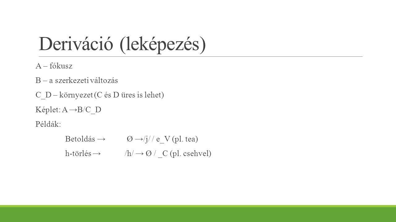 Deriváció (leképezés) A – fókusz B – a szerkezeti változás C_D – környezet (C és D üres is lehet) Képlet: A →B/C_D Példák: Betoldás → Ø →/j/ / e_V (pl
