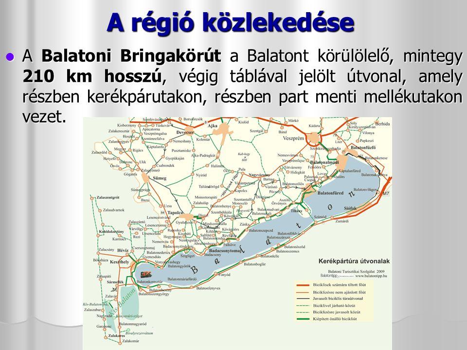 A régió közlekedése Közúton az M7-es autópályán közelíthető meg, mely a déli part településeinél halad.
