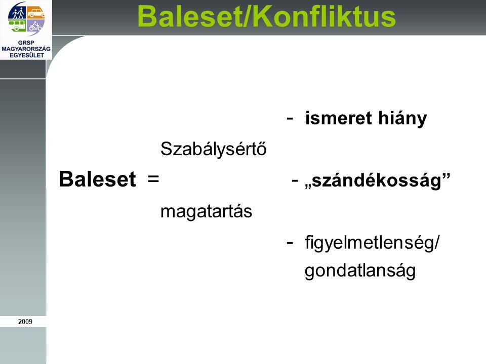 """2009 Baleset/Konfliktus - ismeret hiány Szabálysértő Baleset = - """" szándékosság magatartás - figyelmetlenség/ gondatlanság"""