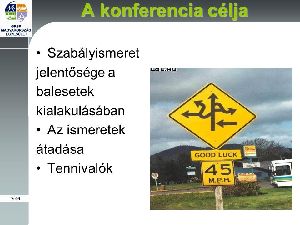 2009 A konferencia célja Szabályismeret jelentősége a balesetek kialakulásában Az ismeretek átadása Tennivalók
