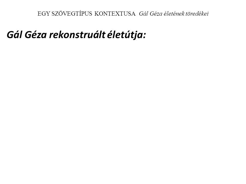 EGY SZÖVEGTÍPUS KONTEXTUSA Gál Géza életének töredékei Gál Géza rekonstruált életútja: