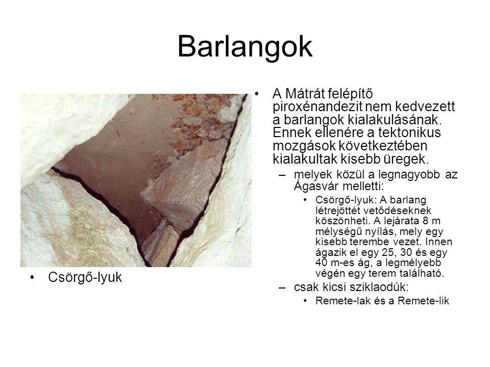 Barlangok A Mátrát felépítő piroxénandezit nem kedvezett a barlangok kialakulásának. Ennek ellenére a tektonikus mozgások következtében kialakultak ki