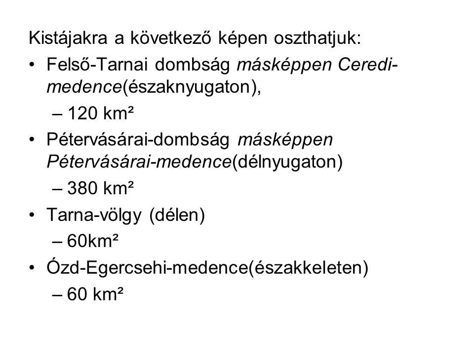 Kistájakra a következő képen oszthatjuk: Felső-Tarnai dombság másképpen Ceredi- medence(északnyugaton), –120 km² Pétervásárai-dombság másképpen Péterv