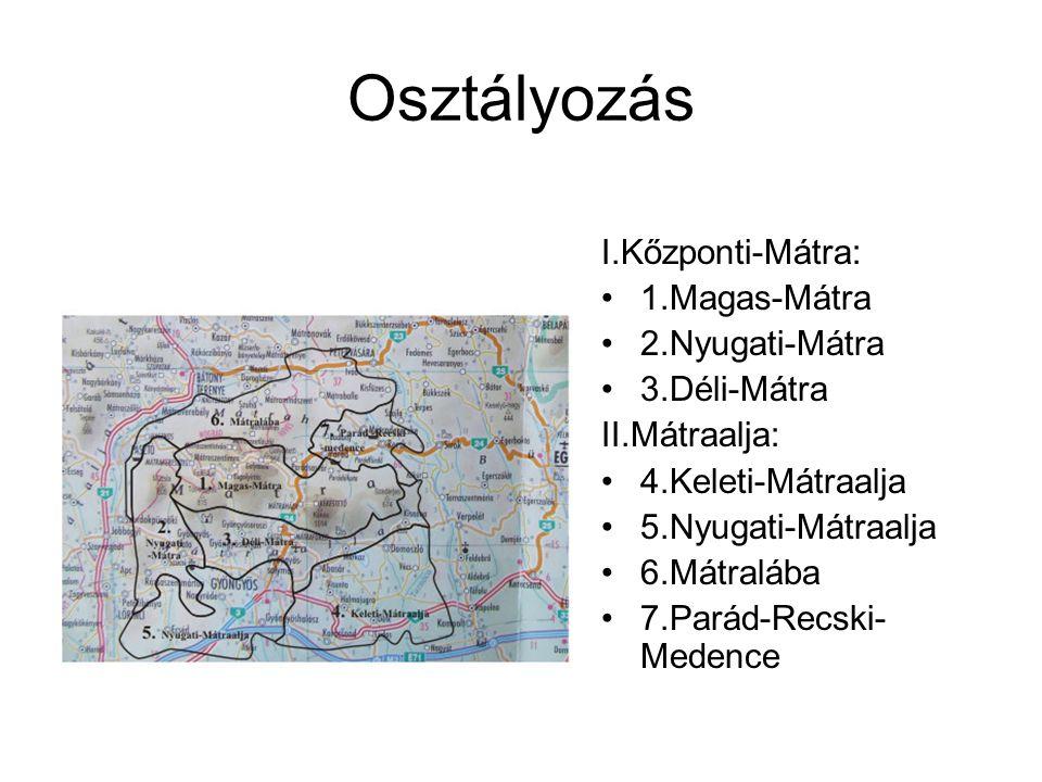 1.Magas-Mátra -Mátrabérc fennsíkjából, a Galyatető és a Kékes vulkáni kúp csoportjaiból áll -települései: Métraháza, Mátrakeresztes, Mátraszentimre, Mátraszentiván, Mátraszentlászló, Parádóhuta.