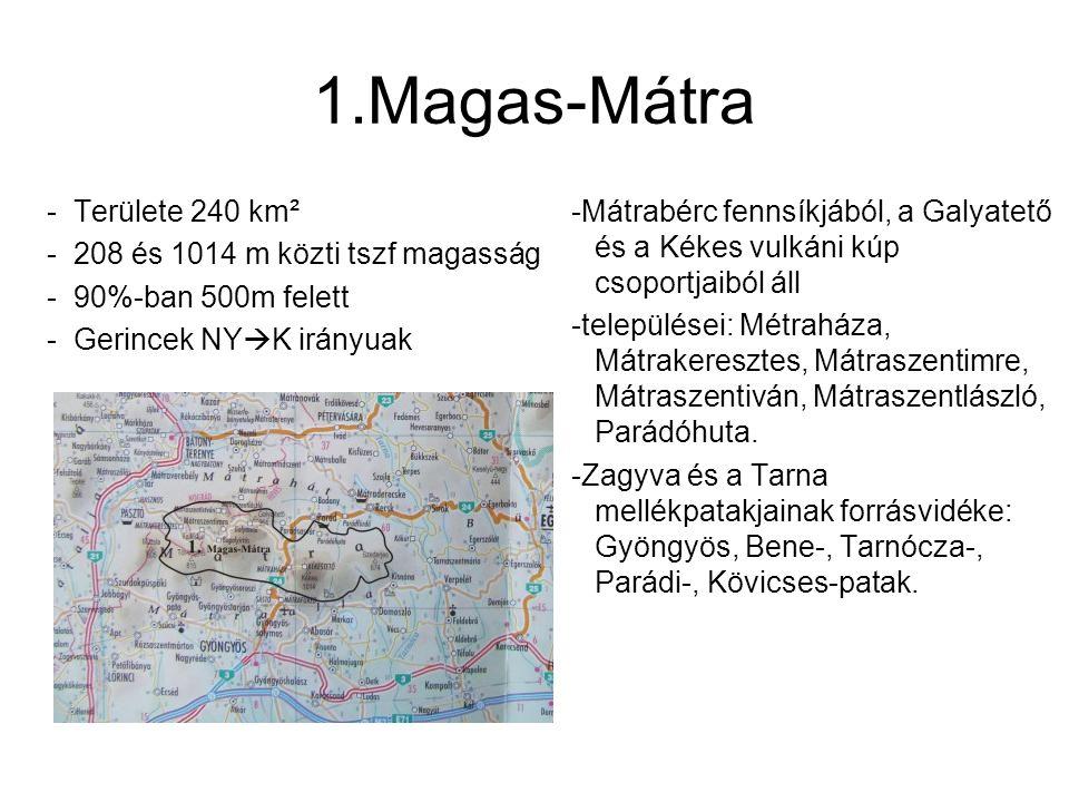 2.Nyugati-Mátra -Területe 170 km² -158 és 805 m közti tszf magasság Itt talalható Délen Nagy- Hársas lepusztult vulkáni kúpja, és Északabra Muzsla csúcsával tetőzik települései: Gyöngyöspata, Rózsaszentmárton, Szűcsi.