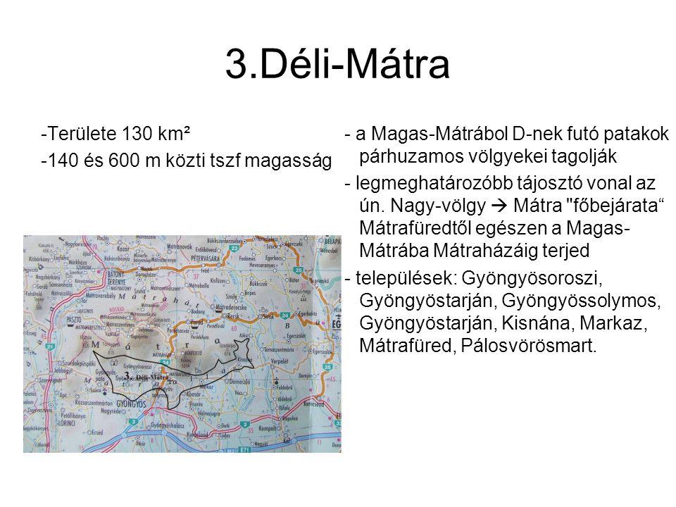 3.Déli-Mátra -Területe 130 km² -140 és 600 m közti tszf magasság - a Magas-Mátrábol D-nek futó patakok párhuzamos völgyekei tagolják - legmeghatározób