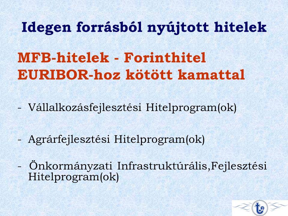 Idegen forrásból nyújtott hitelek MFB-hitelek - Forinthitel EURIBOR-hoz kötött kamattal -Vállalkozásfejlesztési Hitelprogram(ok) -Agrárfejlesztési Hitelprogram(ok) - Önkormányzati Infrastruktúrális,Fejlesztési Hitelprogram(ok)