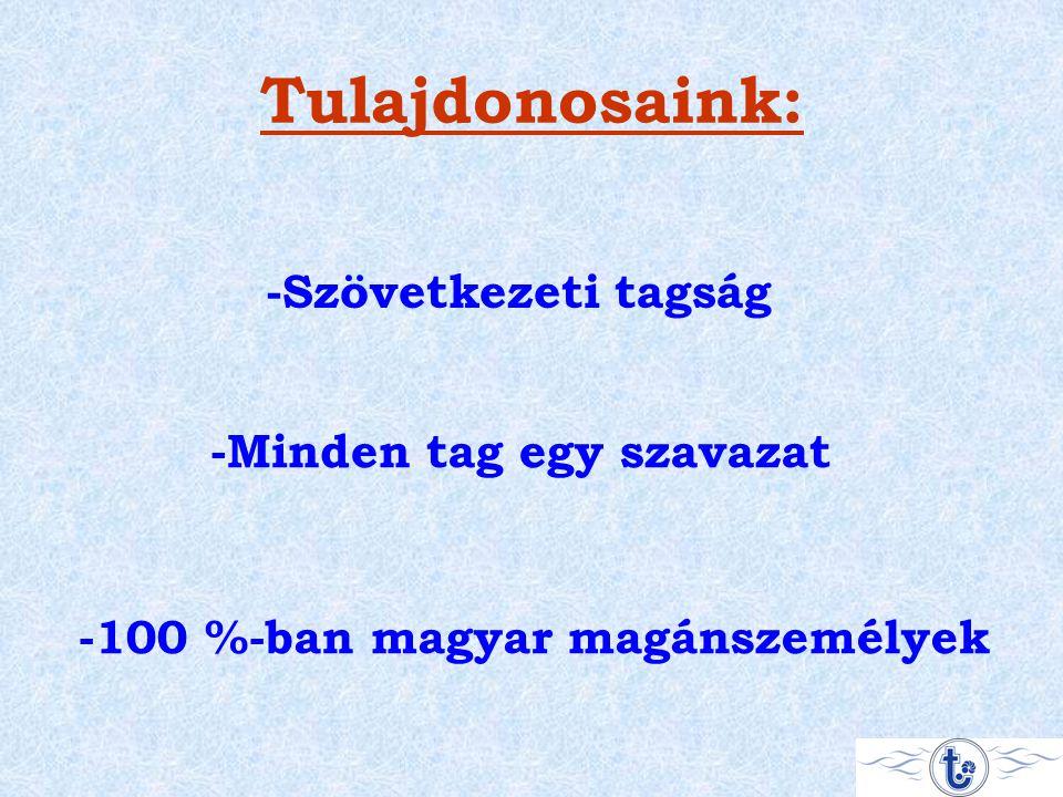 Tulajdonosaink: -Szövetkezeti tagság -Minden tag egy szavazat -100 %-ban magyar magánszemélyek