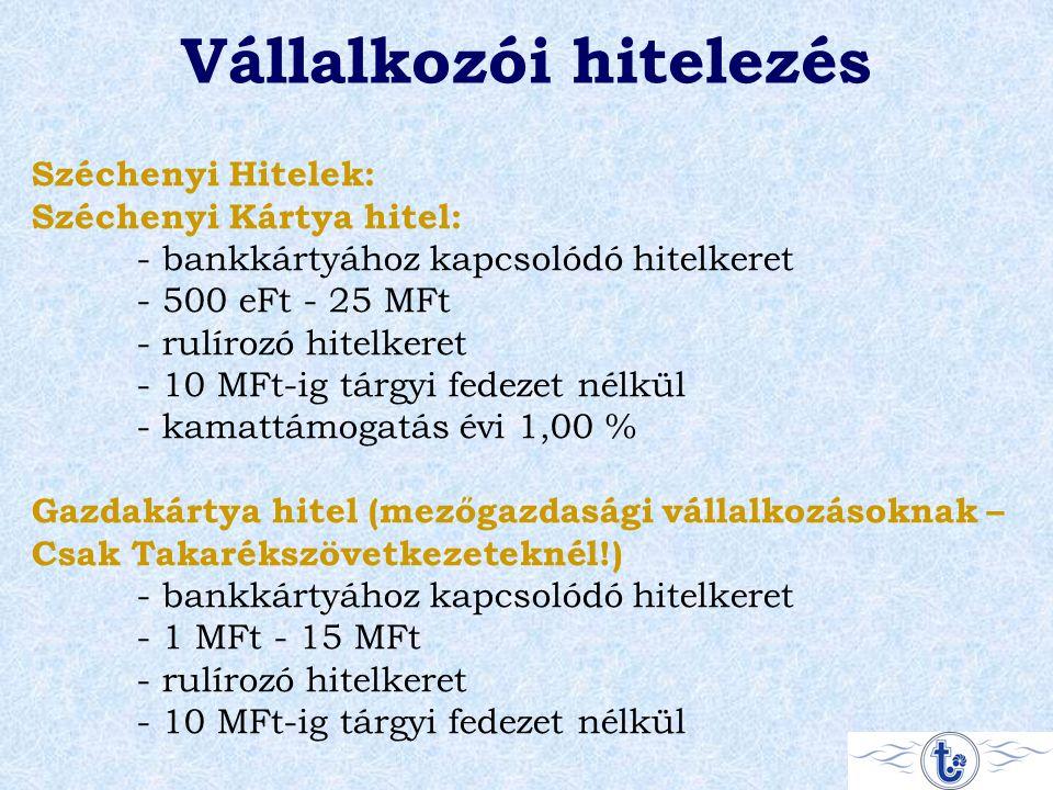 Vállalkozói hitelezés Széchenyi Hitelek: Széchenyi Kártya hitel: - bankkártyához kapcsolódó hitelkeret - 500 eFt - 25 MFt - rulírozó hitelkeret - 10 MFt-ig tárgyi fedezet nélkül - kamattámogatás évi 1,00 % Gazdakártya hitel (mezőgazdasági vállalkozásoknak – Csak Takarékszövetkezeteknél!) - bankkártyához kapcsolódó hitelkeret - 1 MFt - 15 MFt - rulírozó hitelkeret - 10 MFt-ig tárgyi fedezet nélkül