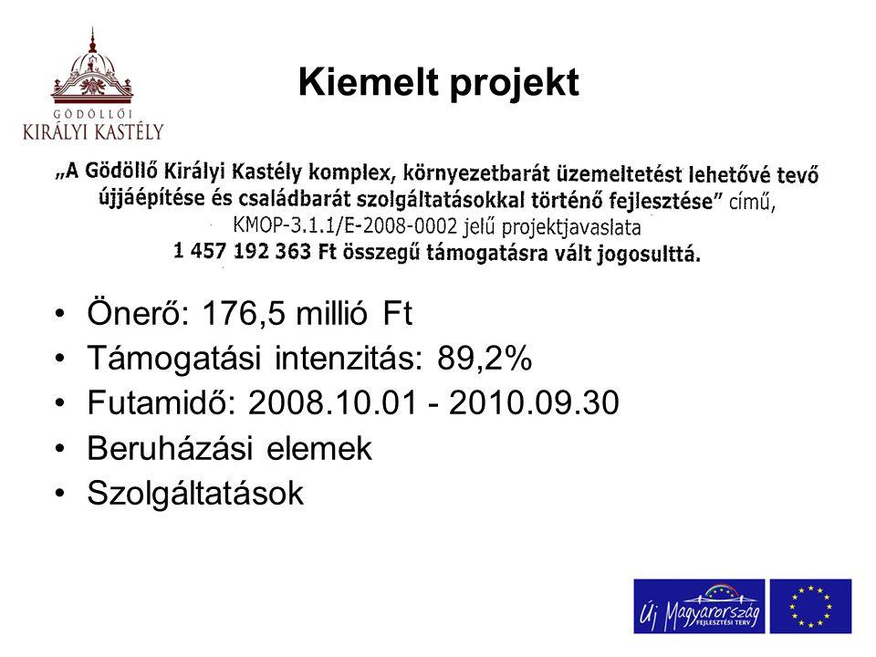 Kiemelt projekt Önerő: 176,5 millió Ft Támogatási intenzitás: 89,2% Futamidő: 2008.10.01 - 2010.09.30 Beruházási elemek Szolgáltatások